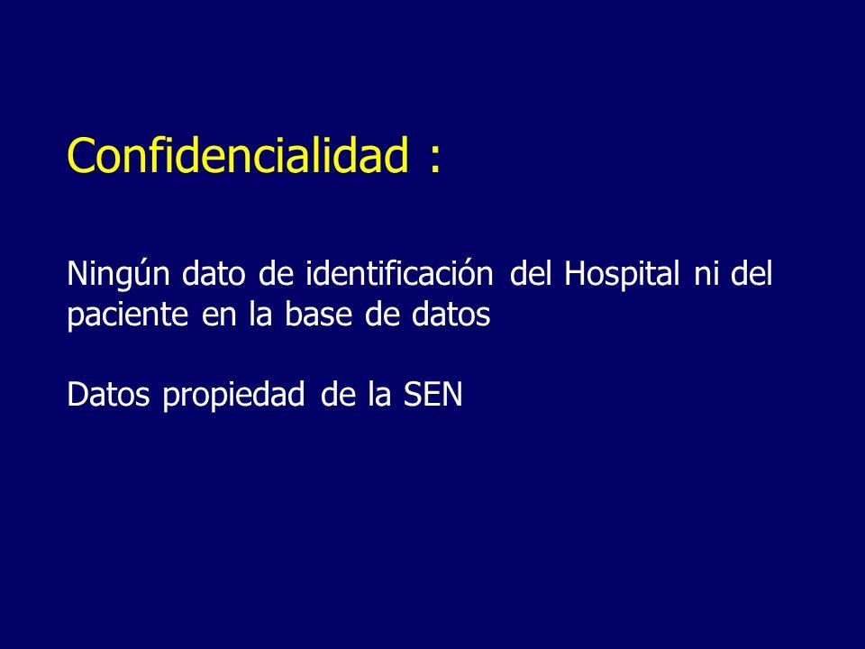 Confidencialidad :Ningún dato de identificación del Hospital ni del paciente en la base de datos.