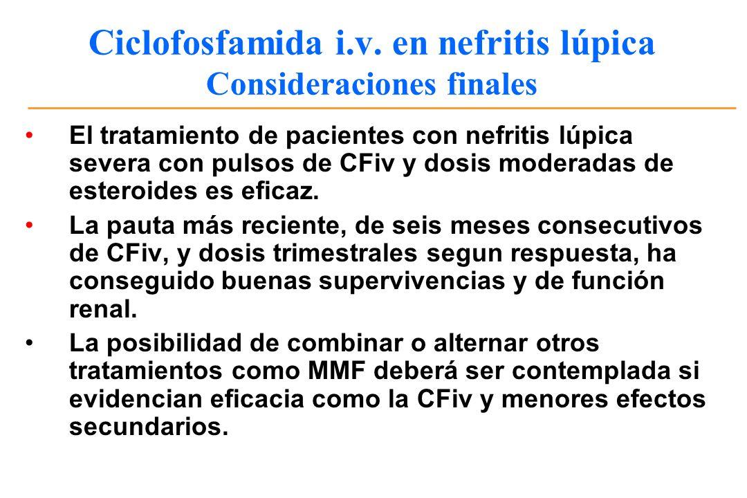 Ciclofosfamida i.v. en nefritis lúpica Consideraciones finales