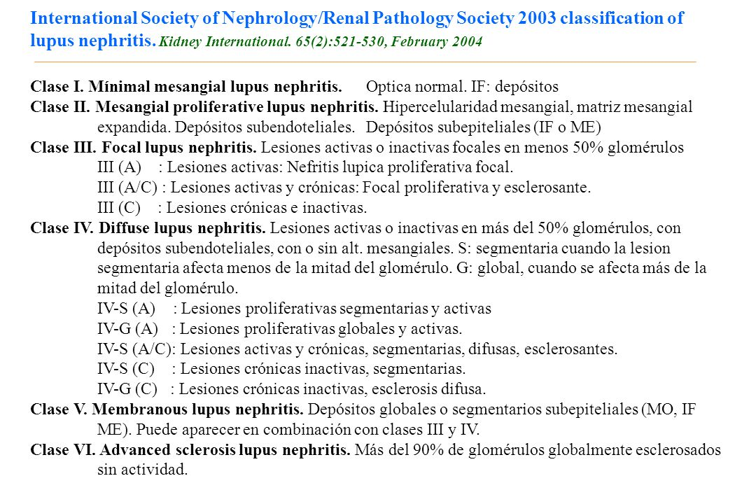 International Society of Nephrology/Renal Pathology Society 2003 classification of lupus nephritis. Kidney International. 65(2):521-530, February 2004