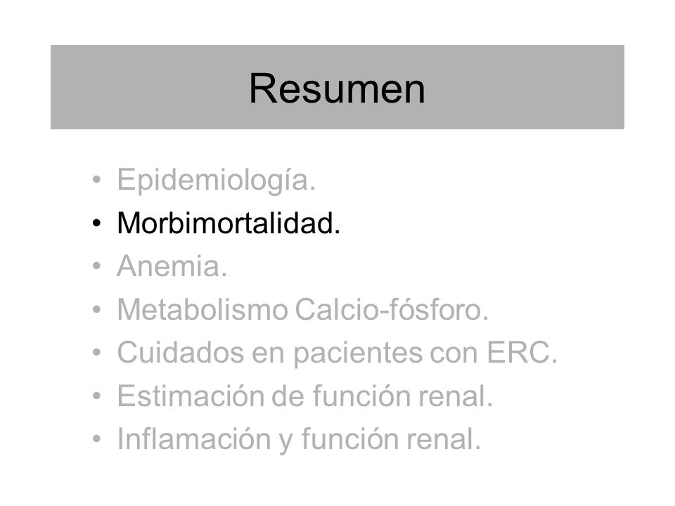 Resumen Epidemiología. Morbimortalidad. Anemia.