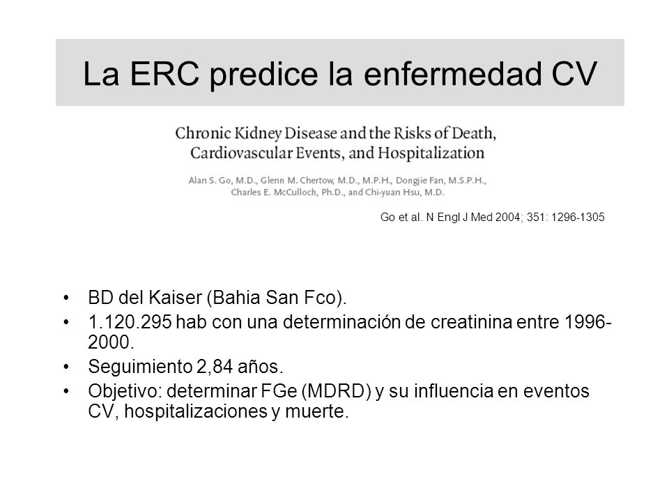 La ERC predice la enfermedad CV
