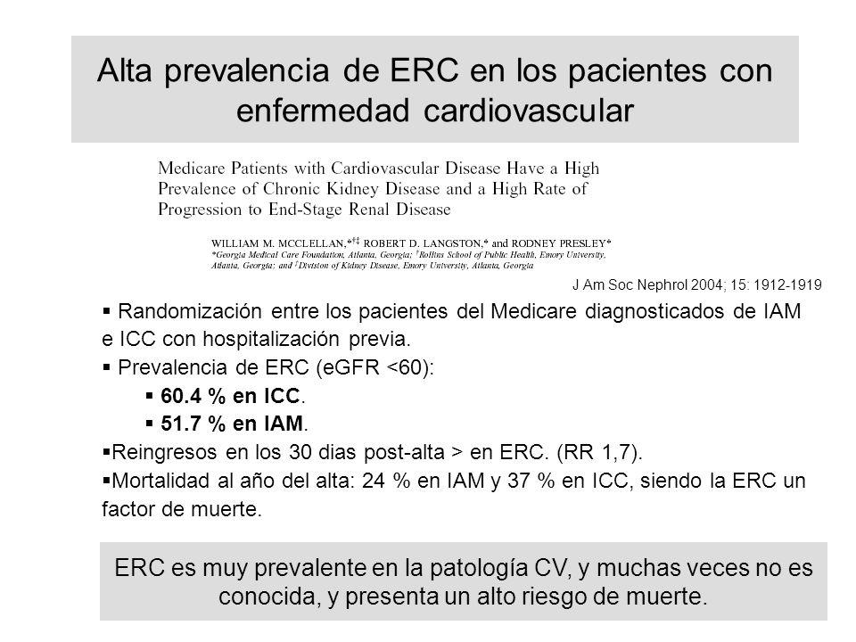 Alta prevalencia de ERC en los pacientes con enfermedad cardiovascular