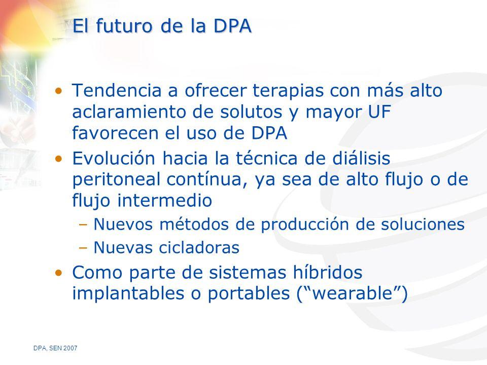 El futuro de la DPA Tendencia a ofrecer terapias con más alto aclaramiento de solutos y mayor UF favorecen el uso de DPA.