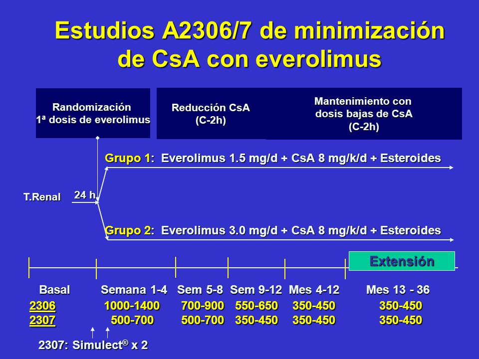 Estudios A2306/7 de minimización de CsA con everolimus