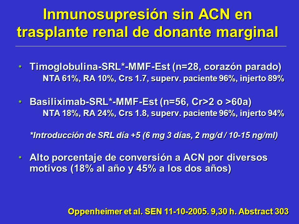 Inmunosupresión sin ACN en trasplante renal de donante marginal
