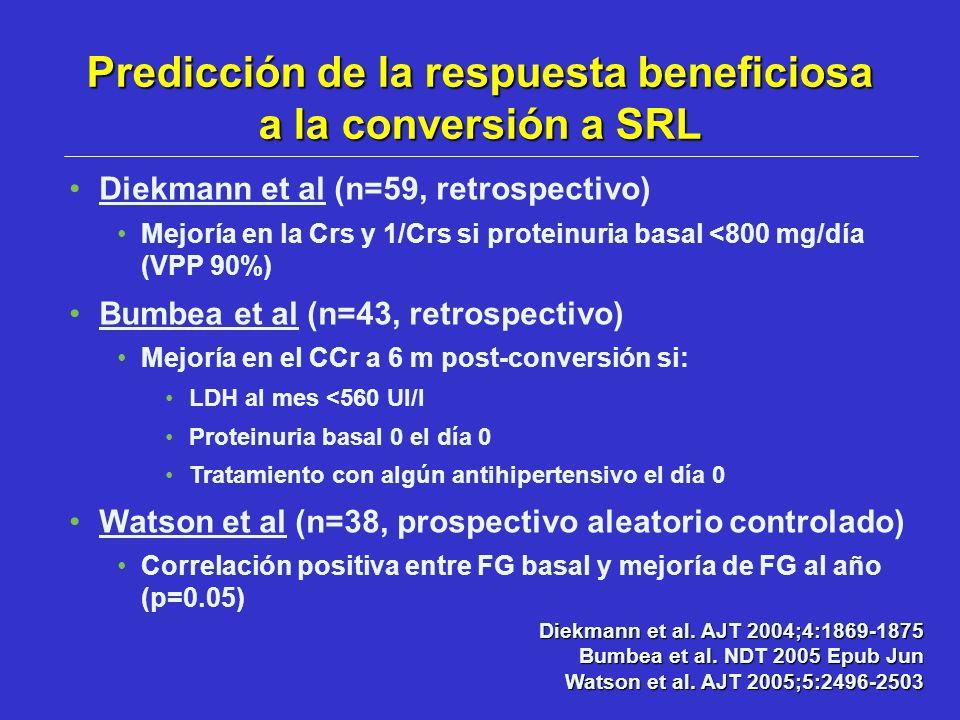 Predicción de la respuesta beneficiosa a la conversión a SRL
