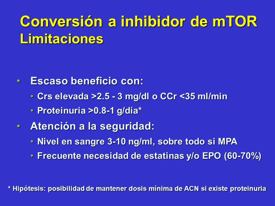Conversión a inhibidor de mTOR