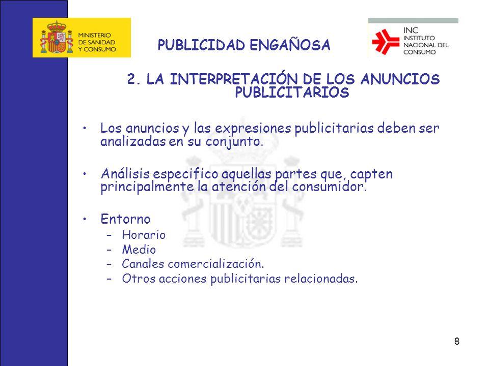 2. LA INTERPRETACIÓN DE LOS ANUNCIOS PUBLICITARIOS