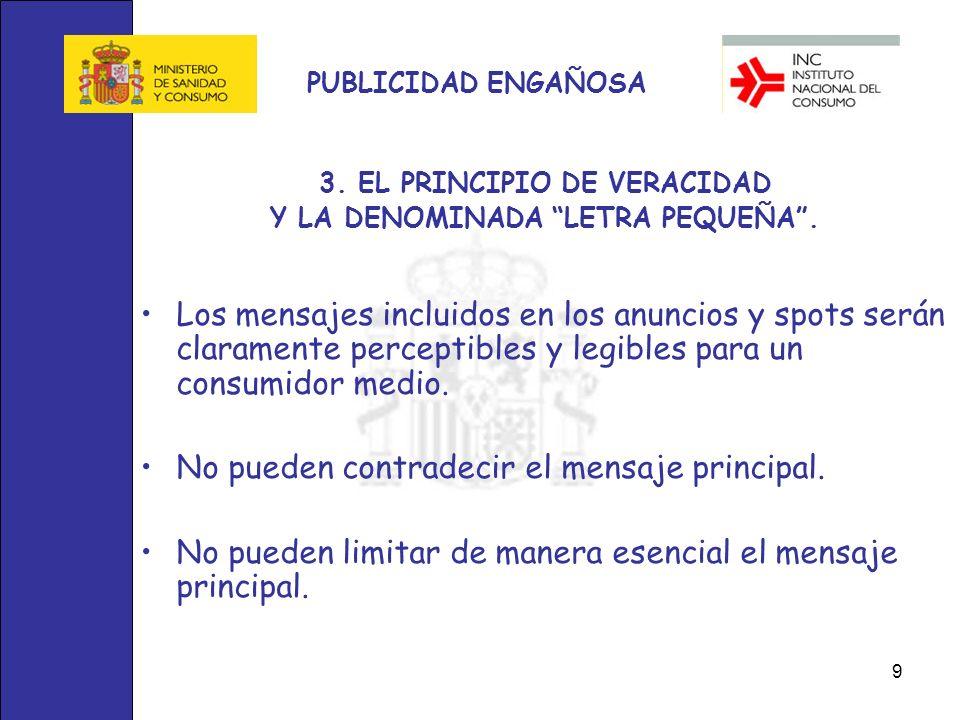 3. EL PRINCIPIO DE VERACIDAD Y LA DENOMINADA LETRA PEQUEÑA .