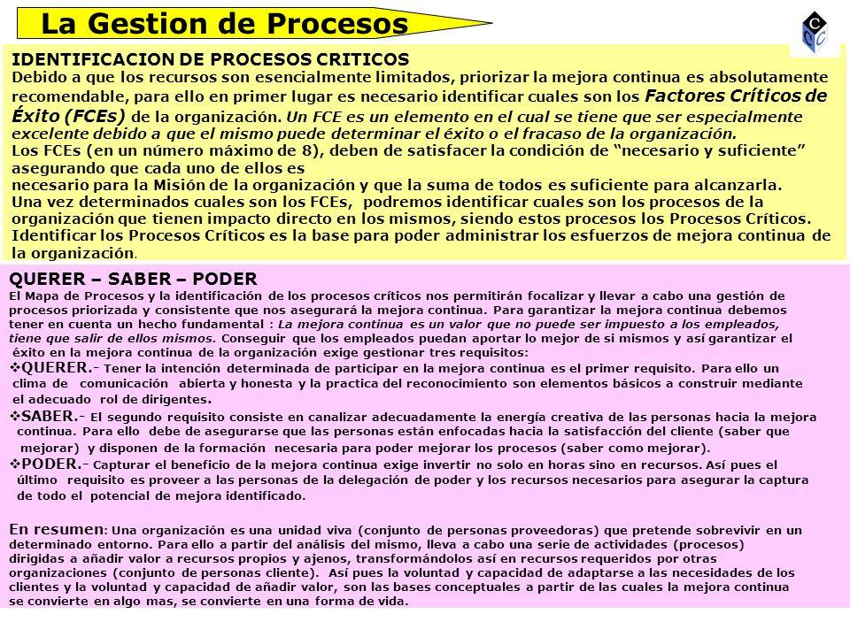 La Gestion de Procesos IDENTIFICACION DE PROCESOS CRITICOS