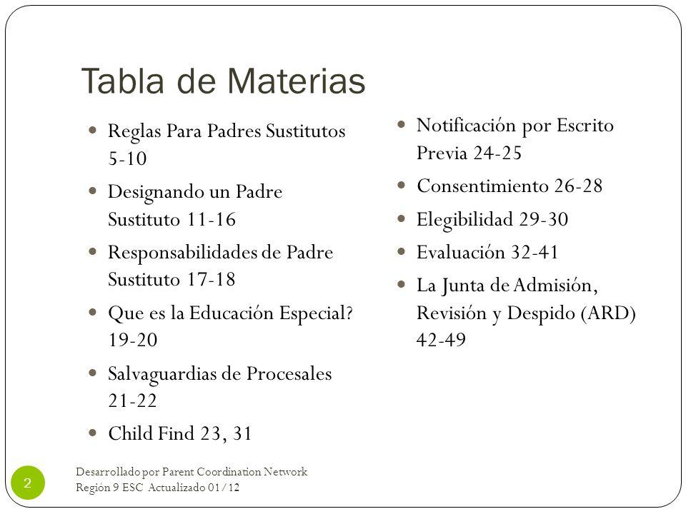 Tabla de Materias Notificación por Escrito Previa 24-25