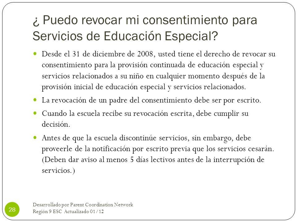 ¿ Puedo revocar mi consentimiento para Servicios de Educación Especial