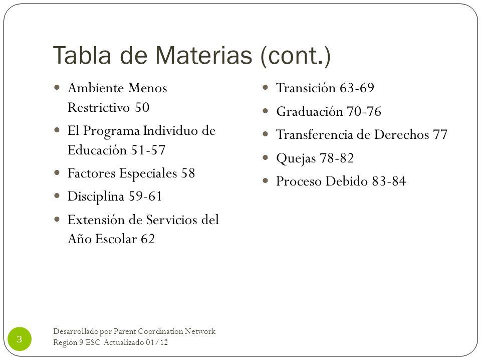 Tabla de Materias (cont.)
