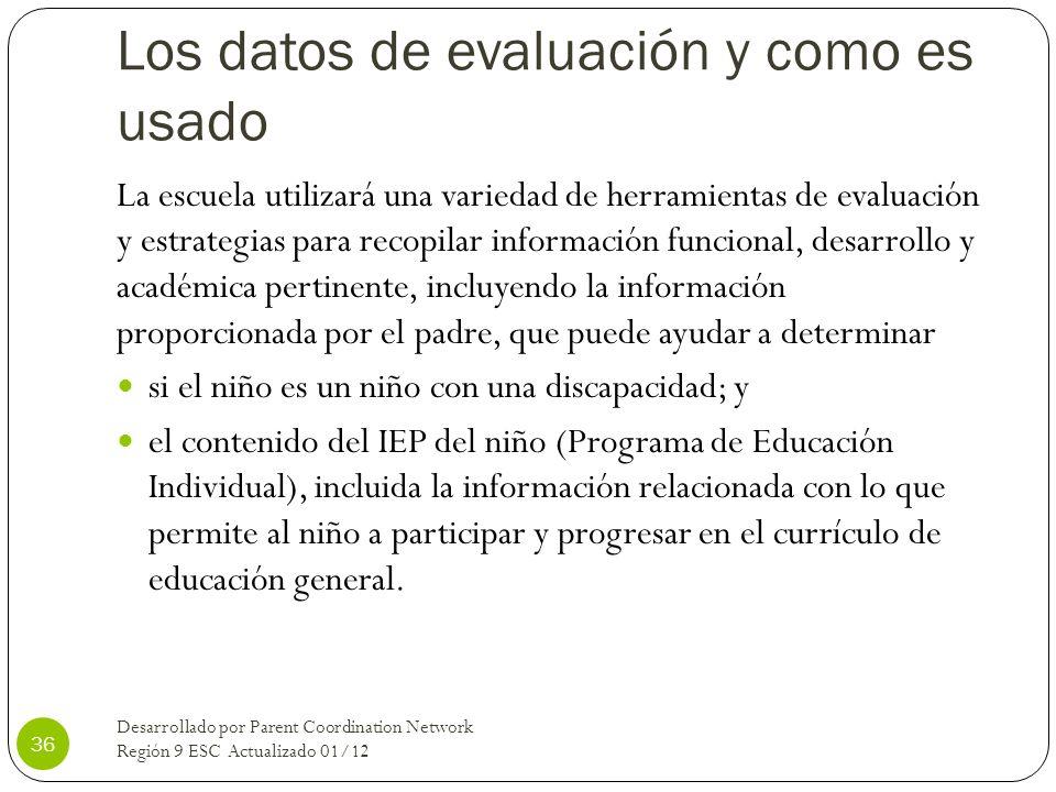 Los datos de evaluación y como es usado