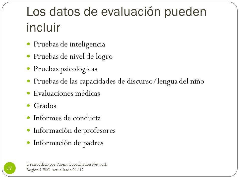 Los datos de evaluación pueden incluir