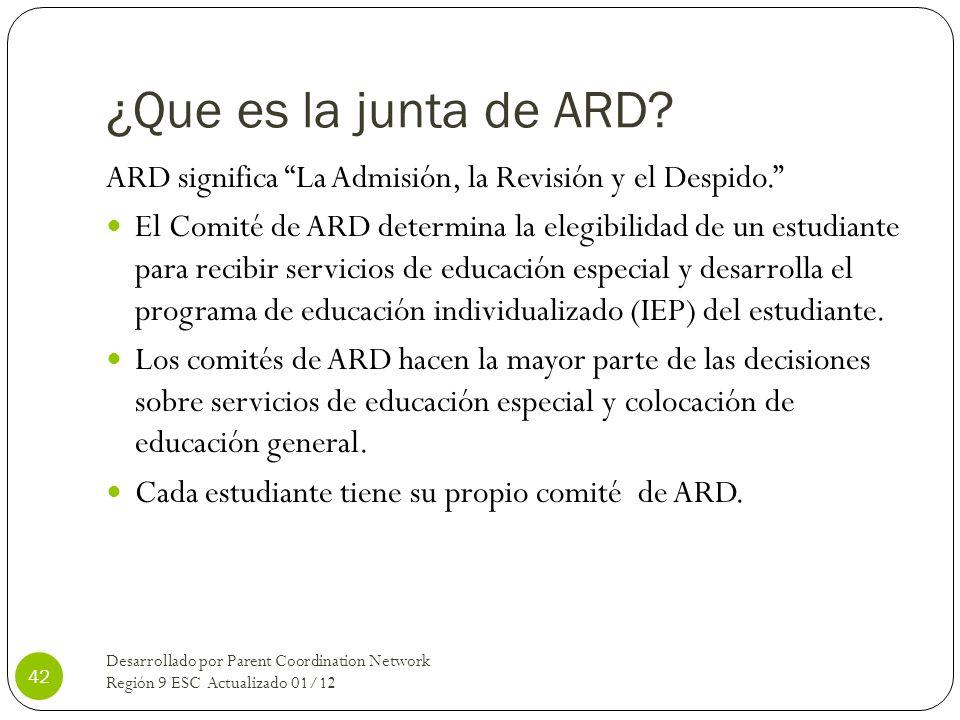 ¿Que es la junta de ARD ARD significa La Admisión, la Revisión y el Despido.