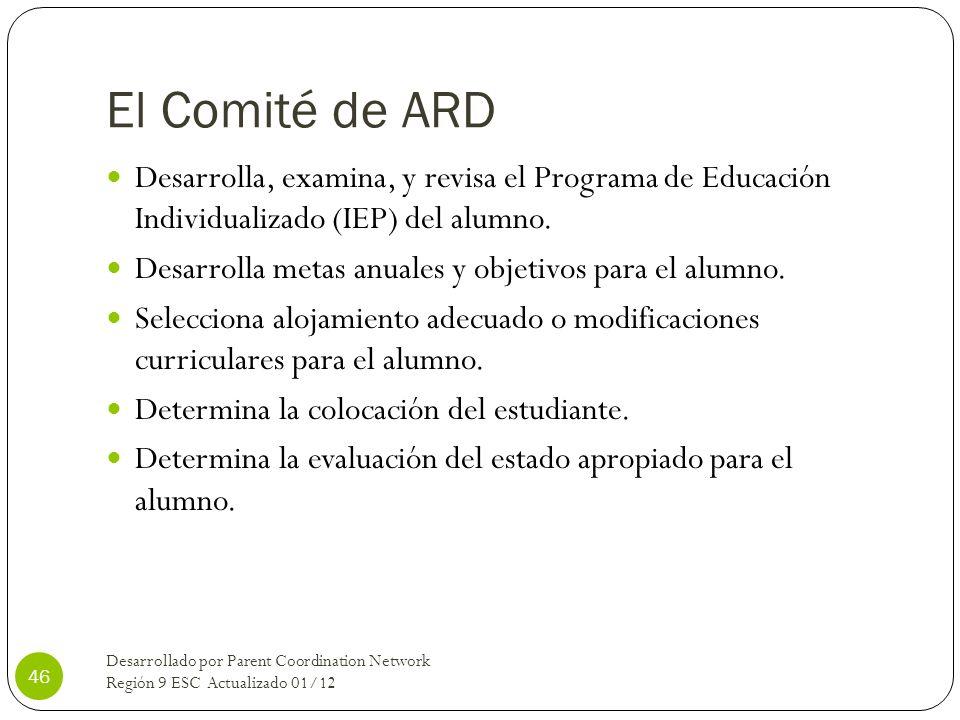 El Comité de ARD Desarrolla, examina, y revisa el Programa de Educación Individualizado (IEP) del alumno.