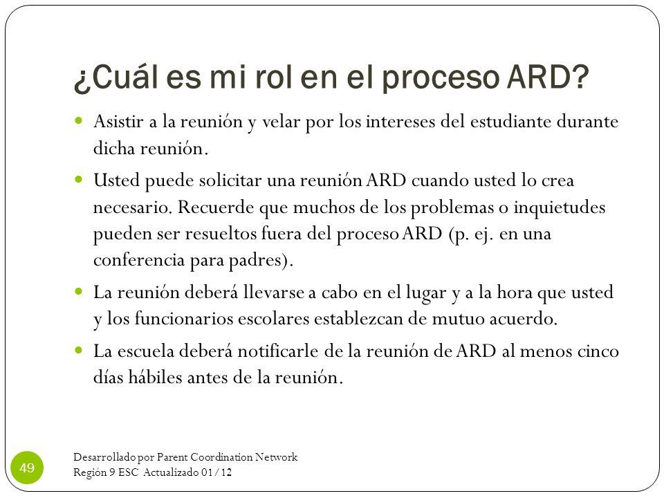 ¿Cuál es mi rol en el proceso ARD