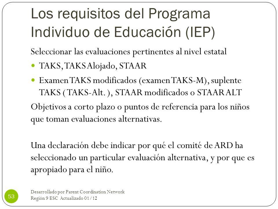 Los requisitos del Programa Individuo de Educación (IEP)