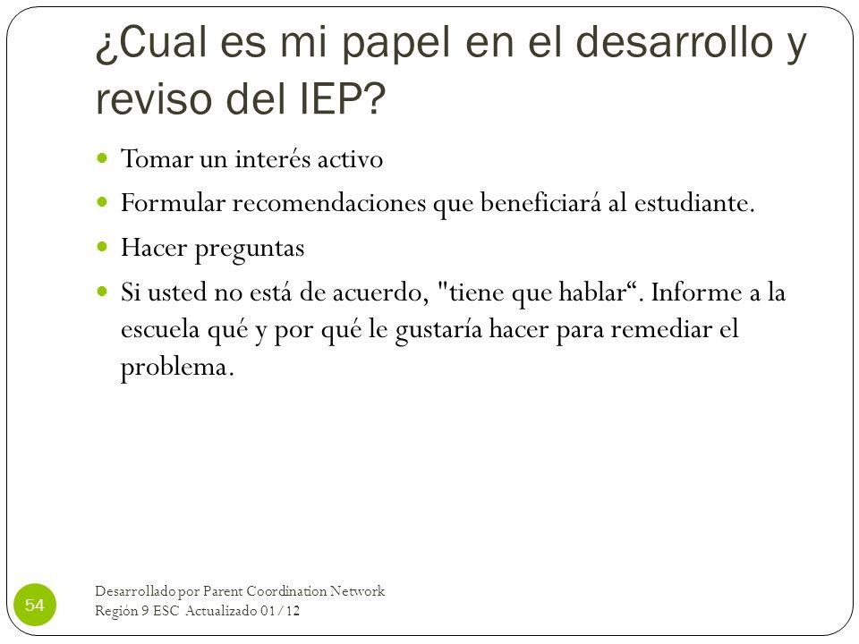 ¿Cual es mi papel en el desarrollo y reviso del IEP