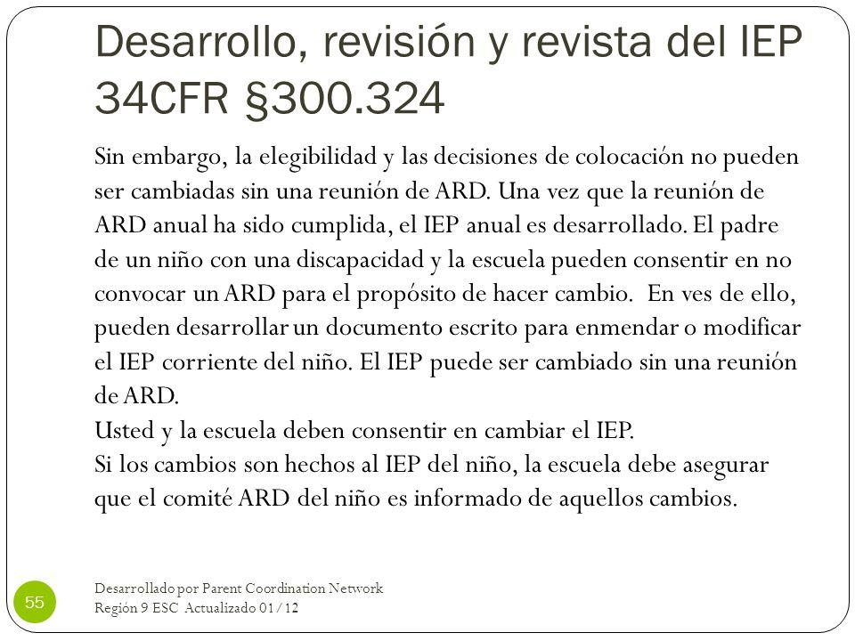 Desarrollo, revisión y revista del IEP 34CFR §300.324