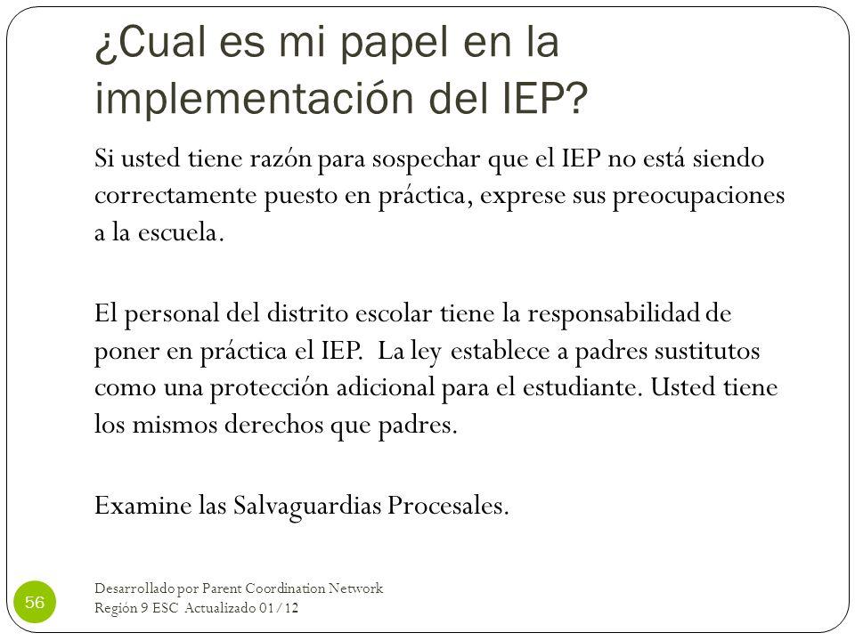 ¿Cual es mi papel en la implementación del IEP
