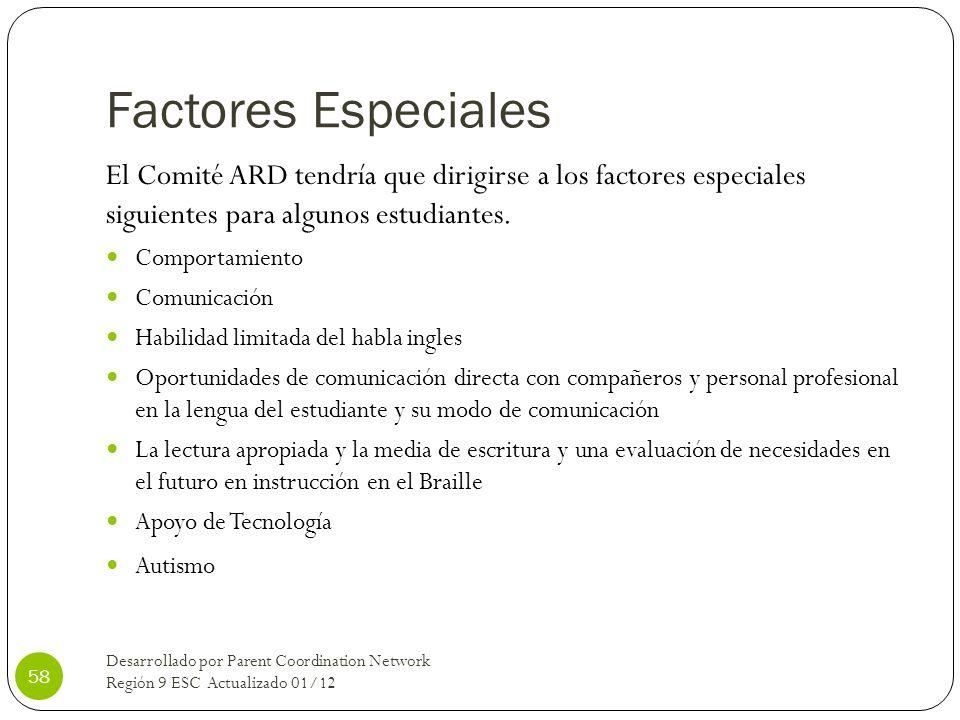 Factores EspecialesEl Comité ARD tendría que dirigirse a los factores especiales siguientes para algunos estudiantes.