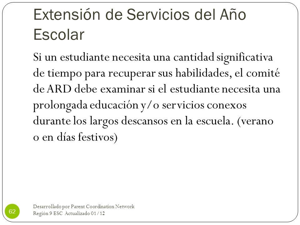 Extensión de Servicios del Año Escolar