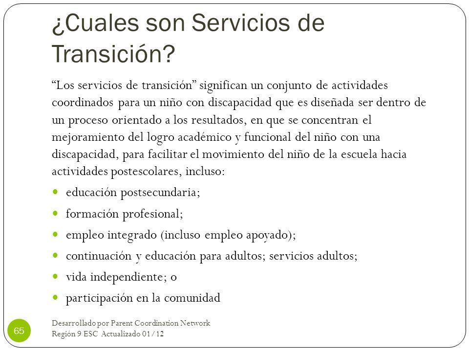¿Cuales son Servicios de Transición