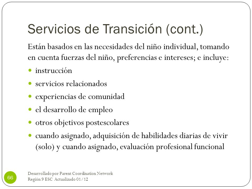 Servicios de Transición (cont.)