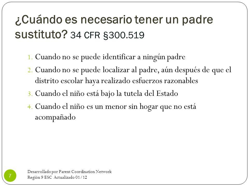 ¿Cuándo es necesario tener un padre sustituto 34 CFR §300.519