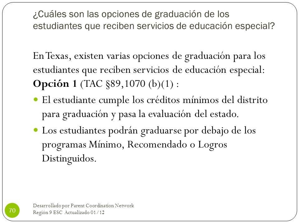 ¿Cuáles son las opciones de graduación de los estudiantes que reciben servicios de educación especial