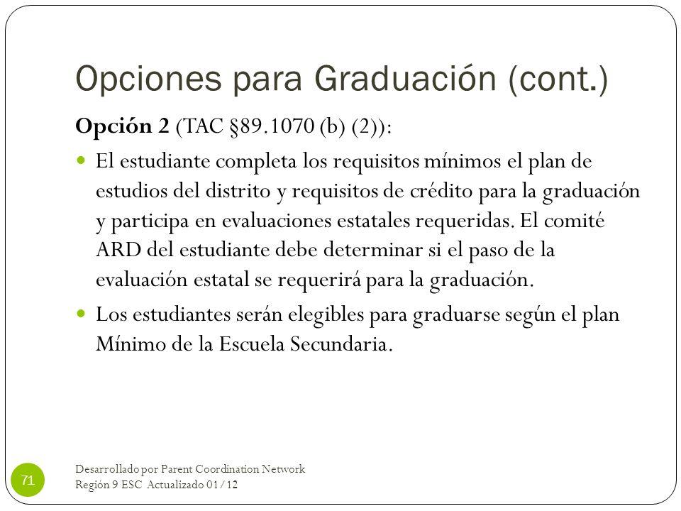 Opciones para Graduación (cont.)