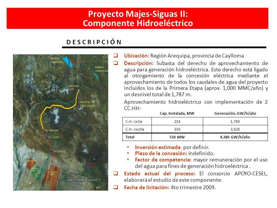 Proyecto Majes-Siguas II: Componente Hidroeléctrico