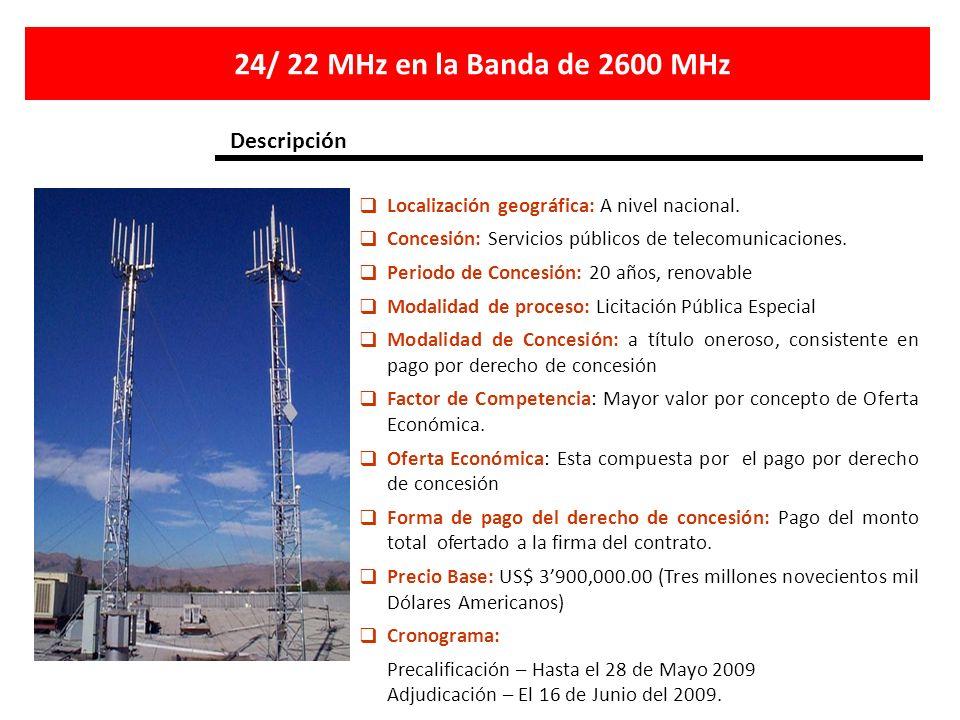 24/ 22 MHz en la Banda de 2600 MHz Descripción
