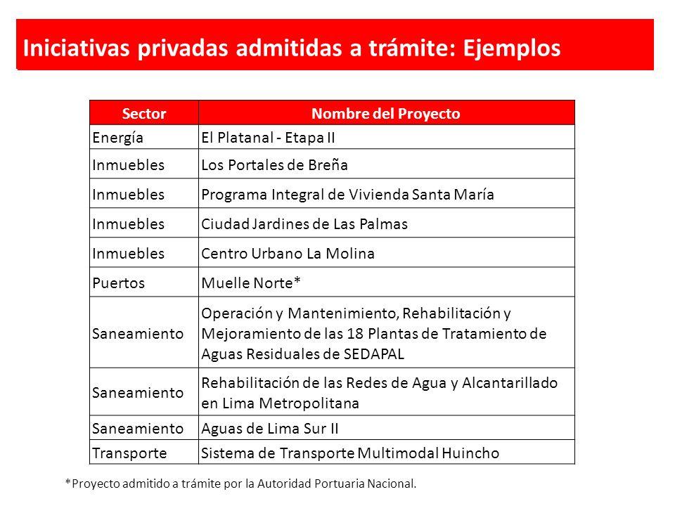 Iniciativas privadas admitidas a trámite: Ejemplos