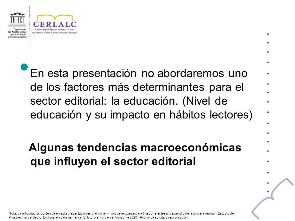 Algunas tendencias macroeconómicas que influyen el sector editorial
