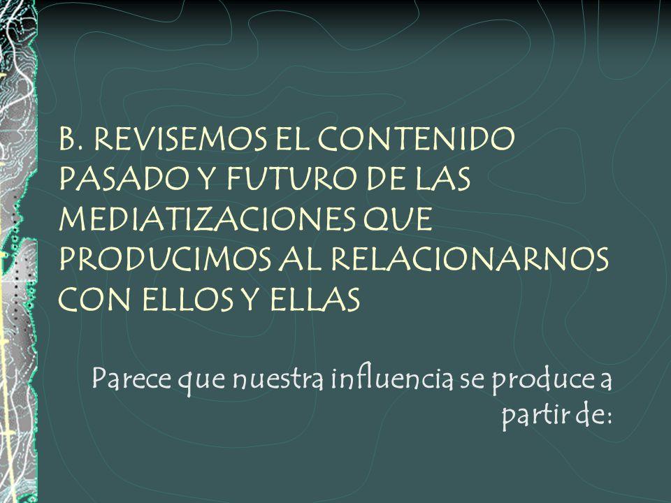 B. REVISEMOS EL CONTENIDO PASADO Y FUTURO DE LAS MEDIATIZACIONES QUE PRODUCIMOS AL RELACIONARNOS CON ELLOS Y ELLAS