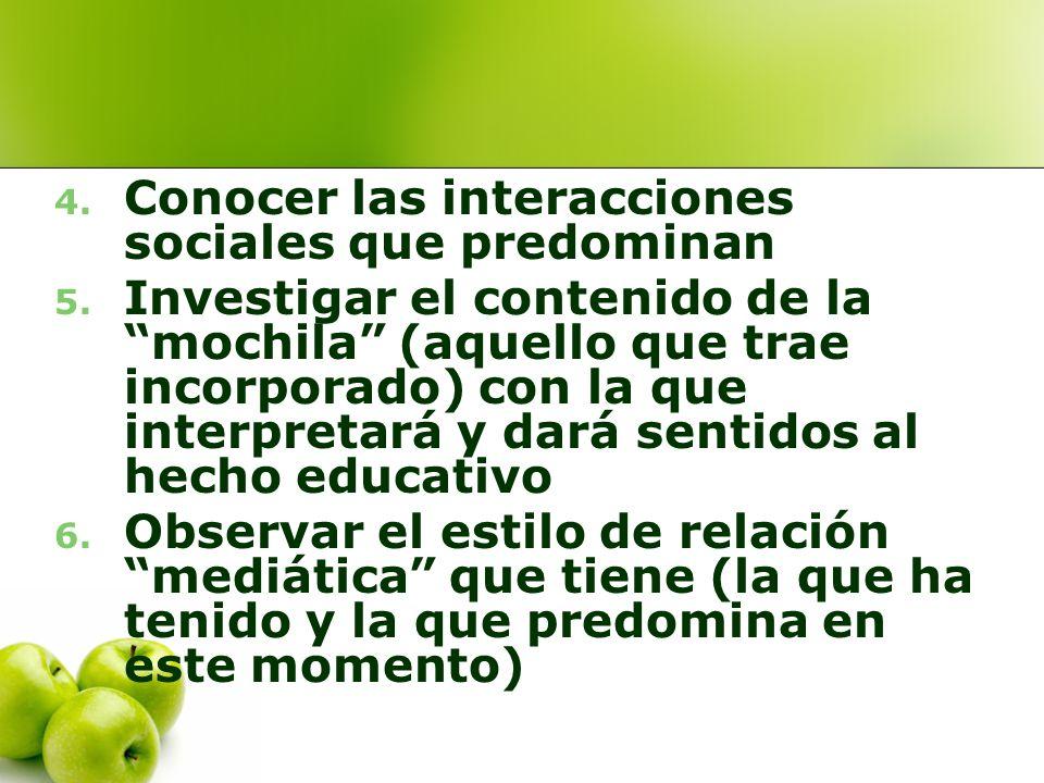 Conocer las interacciones sociales que predominan