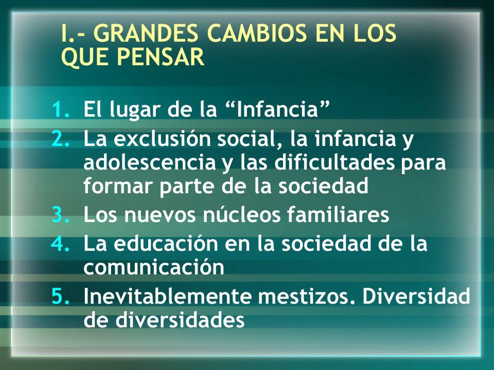 I.- GRANDES CAMBIOS EN LOS QUE PENSAR