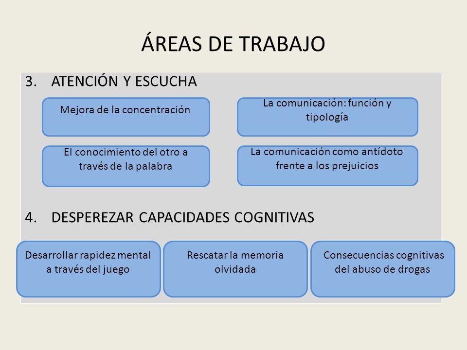 ÁREAS DE TRABAJO ATENCIÓN Y ESCUCHA DESPEREZAR CAPACIDADES COGNITIVAS