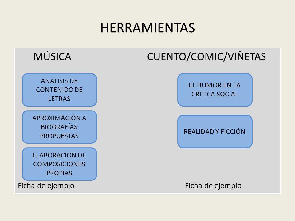 HERRAMIENTAS MÚSICA CUENTO/COMIC/VIÑETAS