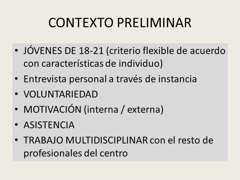 CONTEXTO PRELIMINARJÓVENES DE 18-21 (criterio flexible de acuerdo con características de individuo)