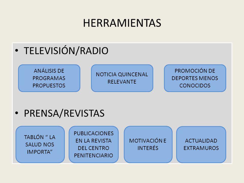 HERRAMIENTAS TELEVISIÓN/RADIO PRENSA/REVISTAS
