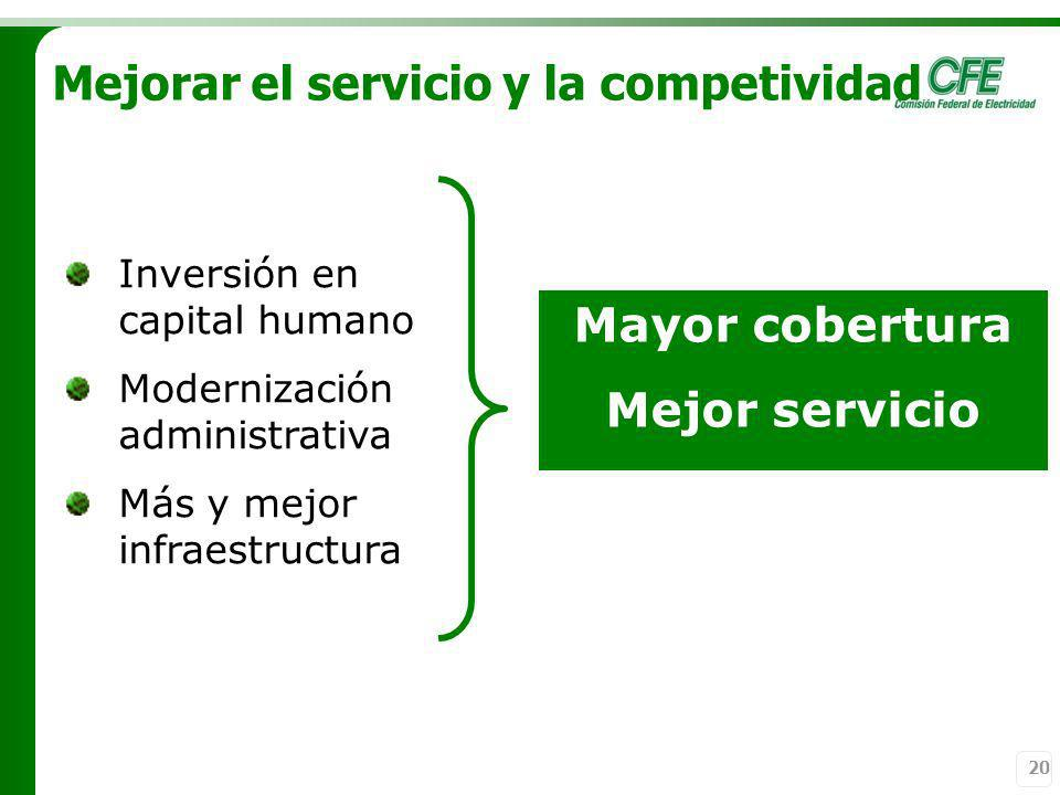 Mayor cobertura Mejor servicio