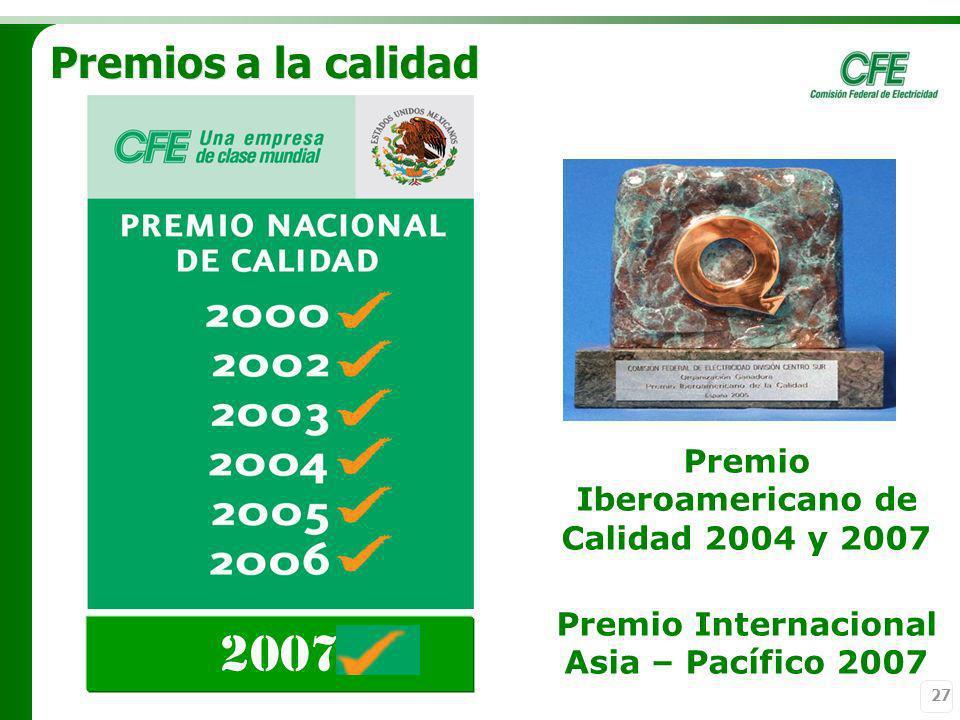 2007 Premios a la calidad Premio Iberoamericano de Calidad 2004 y 2007