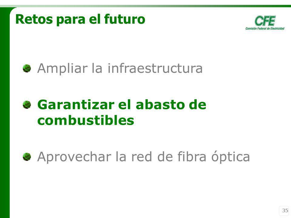 Retos para el futuro Ampliar la infraestructura. Garantizar el abasto de combustibles.
