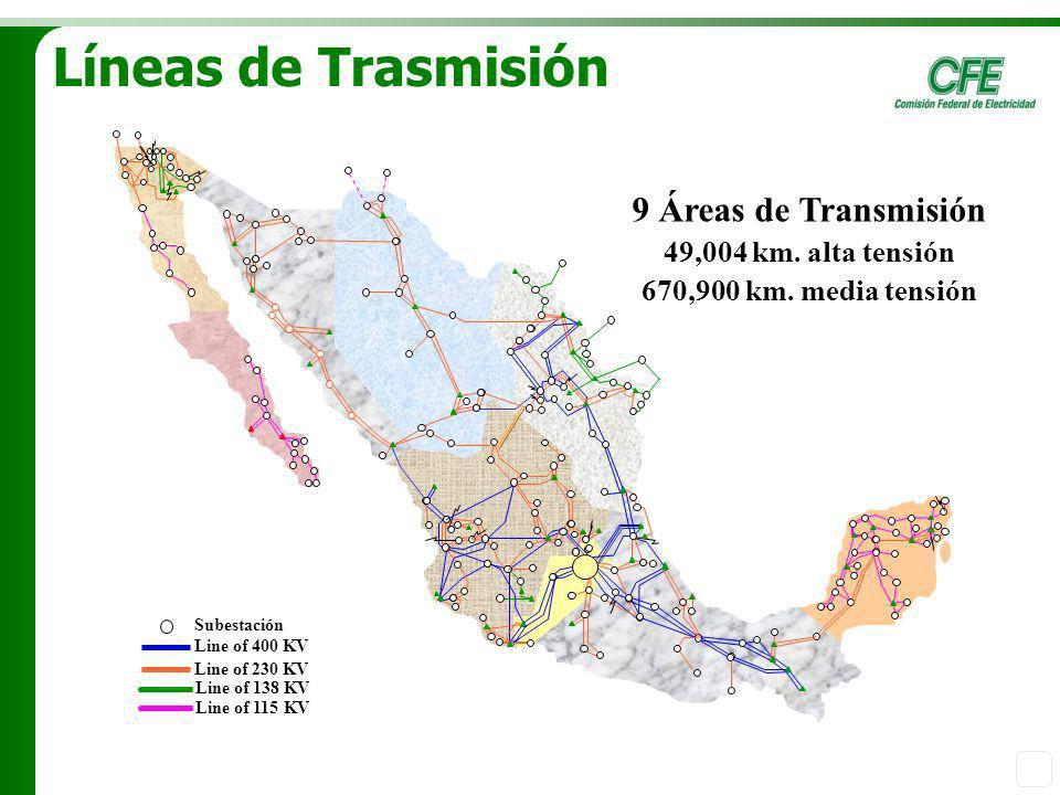Líneas de Trasmisión 9 Áreas de Transmisión 49,004 km. alta tensión
