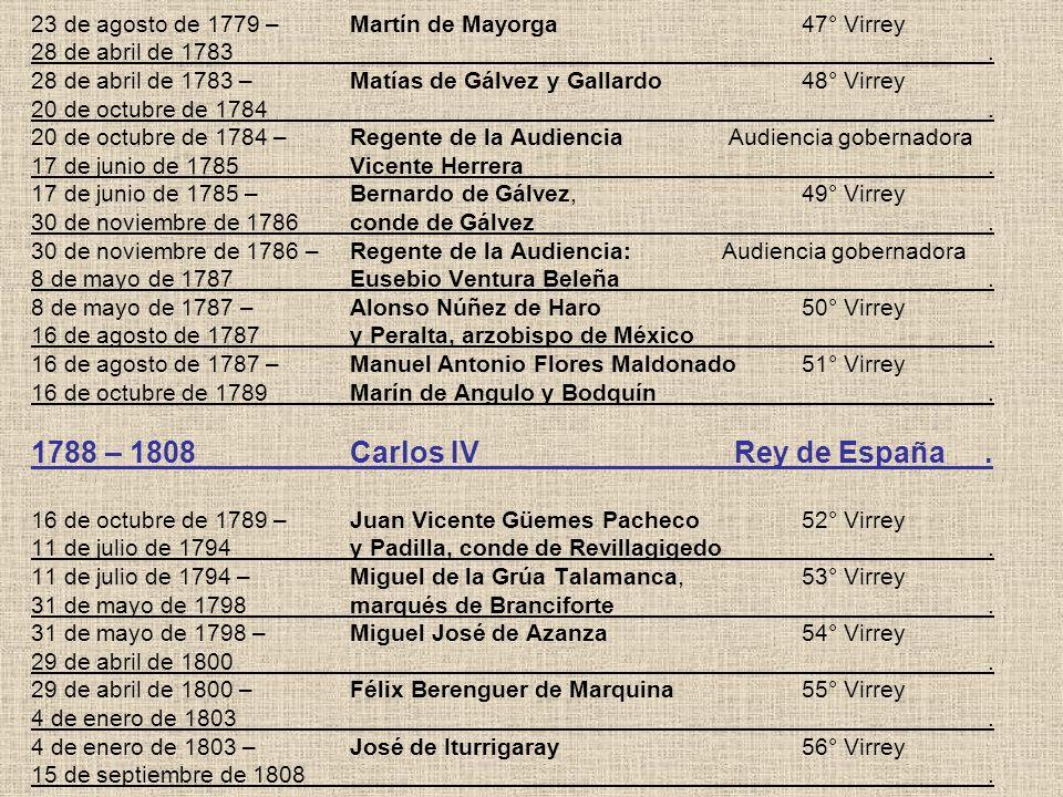 23 de agosto de 1779 –. Martín de Mayorga