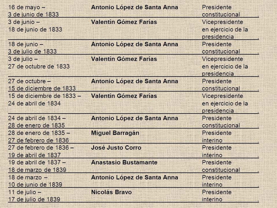 16 de mayo –. Antonio López de Santa Anna